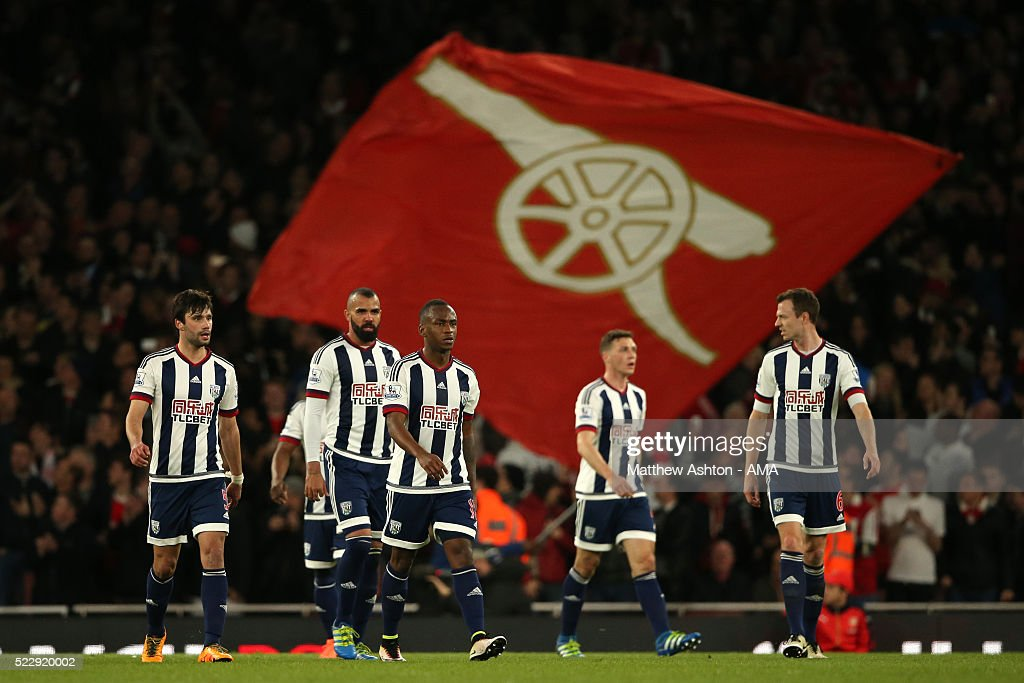 The West Bromwich Albion players look dejected after Arsenal scored to make it 2-0 during the Barclays Premier League match between Arsenal and West Bromwich Albion at the Emirates Stadium, on April 21, 2016 in London, England.