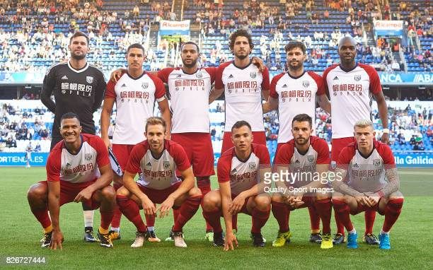 The West Bromwich Albion team line up for a team photo prior to the start the Pre Season Friendly match between Deportivo de La Corua and West...