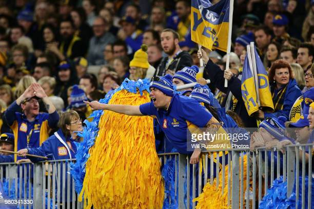 The West Coast cheer squad during the round 14 AFL match between the West Coast Eagles and the Essendon Bombers at Optus Stadium on June 21 2018 in...