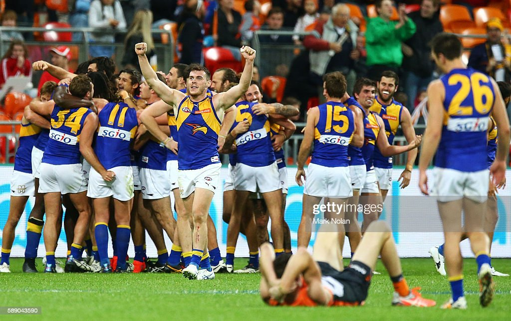 The West Coast Eagles celebrate winning the round 21 AFL match between the Greater Western Sydney Giants and the West Coast Eagles at Spotless Stadium on August 13, 2016 in Sydney, Australia.