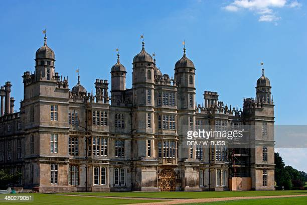 The west facade of Burghley House Elizabethan style built by William Cecil Stamford Lincolnshire United Kingdom