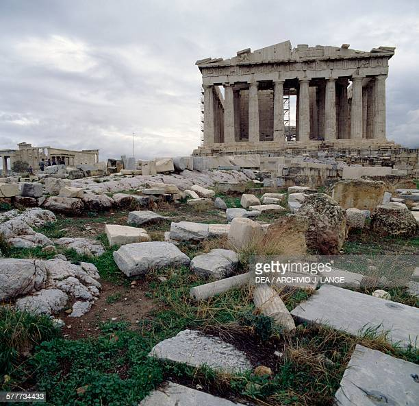 The west facade of the Parthenon with the Erechtheion on the left Acropolis of Athens Greece Greek civilisation 5th century BC