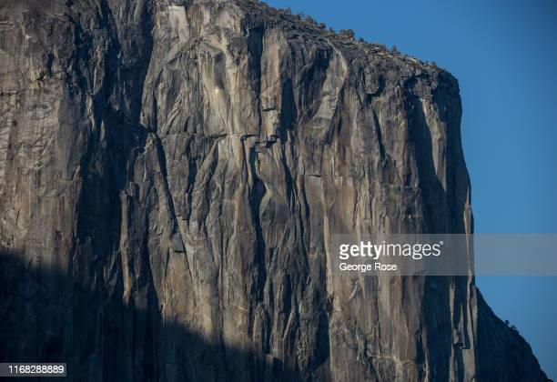 The west face of El Capitan is viewed from Tunnel View on August 13 in Yosemite Valley California With the arrival of summer the estimated 600000...