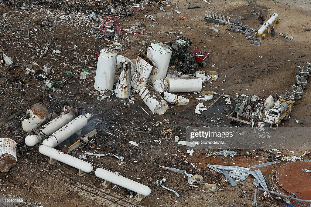 The West Fertilizer Company, shown from the air, lies in ruins on April 18, 2013 in West, Texas. According to West Mayor Tommy Muska, around 14 people, including 10 first responders, were killed and more than 150 people were injured when the fertilizer company caught fire and exploded yesterday, leaving damaged buildings for blocks in every direction.