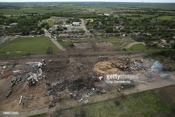 The West Fertilizer Company shown from the air lies in ruins on April 18 2013 in West Texas According to West Mayor Tommy Muska around 14 people...