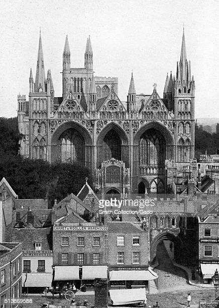 The west front of the Peterborough Cathedral, showing its Gothic gateway, Catherine of Aragon, Henry VIII's queen, is buried here, Peterborough,...