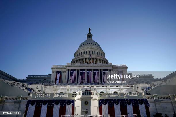 The West Front of the U.S. Capitol is prepared for the inauguration of U.S. President-elect Joe Biden on on January 20, 2021 in Washington, DC....
