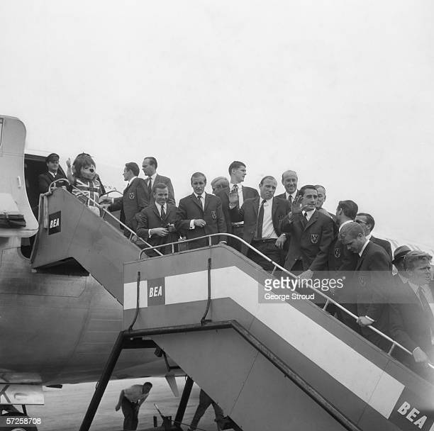 The West German football team flying home from London Airport after the 1966 World Cup in England 1st August 1966 The competition mascot World Cup...