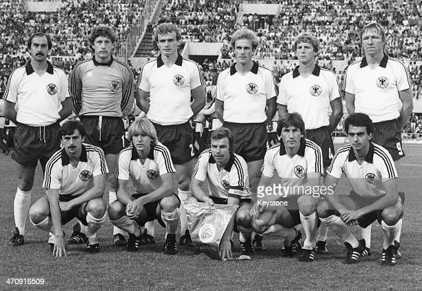 The West German team line up at the 1980 UEFA European Championships in Rome June 1980 From left to right back Uli Stielike Harald Schumacher...