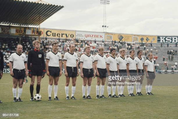 The West Germany national football team line up on the pitch prior to their group 4 match against Morocco in the 1970 FIFA World Cup finals at the...