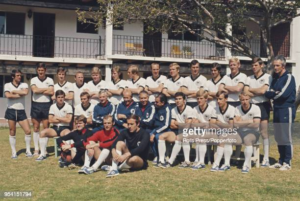 The West Germany national team squad line up together in the garden of the Hotel Balneario in Comanjilla Mexico prior to competing in the 1970 FIFA...