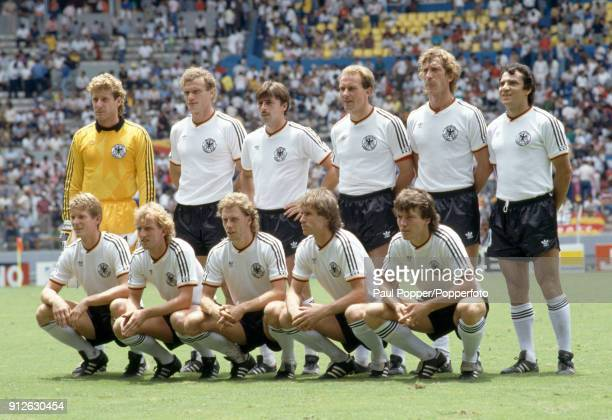 The West Germany team pose for photographers before the FIFA World Cup SemiFinal between France and West Germany at the Estadio Jalisco in...