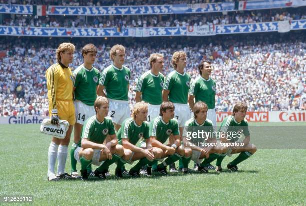The West Germany team pose for photographers before the FIFA World Cup Final between Argentina and West Germany at the Estadio Azteca in Mexico City...