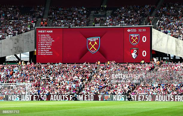 The West Ham club badge on the screen during the Premier League match between West Ham United and AFC Bournemouth at Olympic Stadium on August 21...