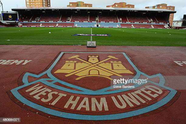The West Ham crest and logo is seen ahead of the Barclays Premier League match between West Ham United and Hull City at Boleyn Ground on March 26...