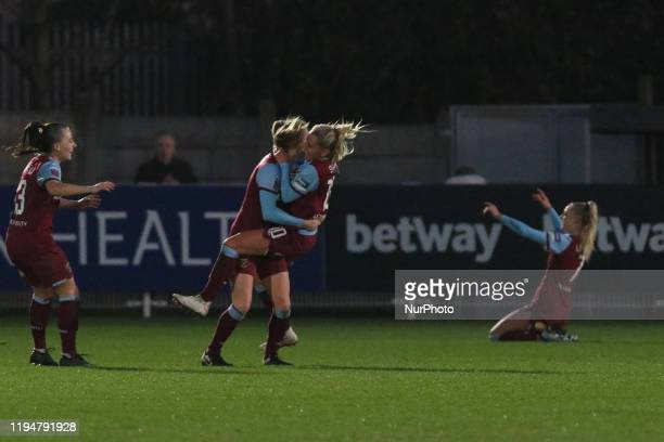 The West Ham Squad celebrating her team's second goal during the Barclays FA Women's Super League match between West Ham United and Brighton and Hove...