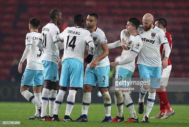 The West Ham team celebrate after the Premier League match between Middlesbrough and West Ham United at the Riverside Stadium on January 21 2017 in...