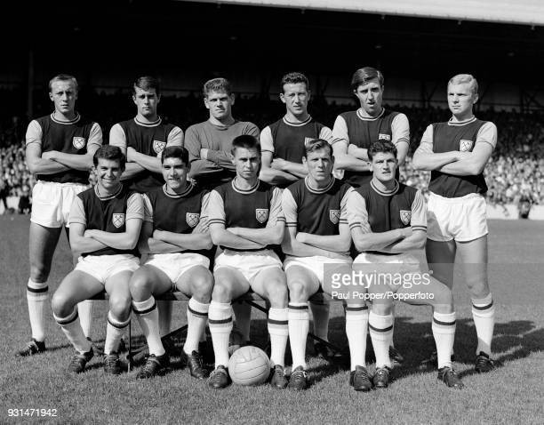 The West Ham United team before their match against Chelsea at Upton Park in London 16th September 1961 Back row Joe Kirkup Geoff Hurst Lawrie Leslie...
