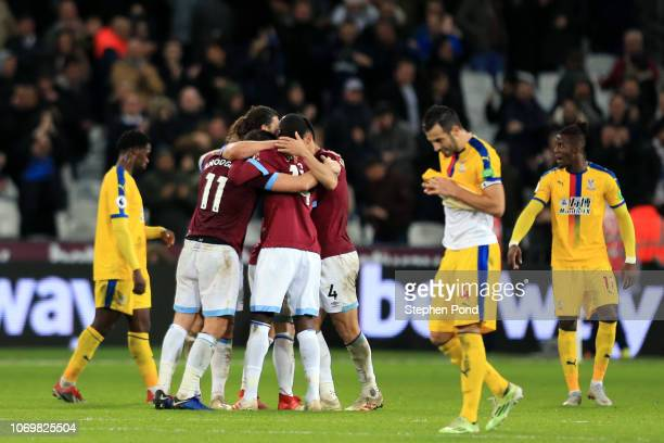 3e3dd87e8332 The West Ham United team celebrate victory after the Premier League match  between West Ham United. ED. Editorial use only. Jeffrey Schlupp of Crystal  Palace ...