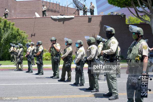 The West Hollywood Sheriff's Department is onsite at the All Black Lives Matter Solidarity March on June 14, 2020 in Los Angeles, California.