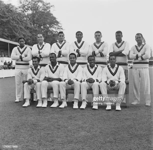 The West Indies cricket team during a tour match against Worcestershire at New Road in Worcester, 14th May 1966. Back row : Basil Butcher, Jackie...