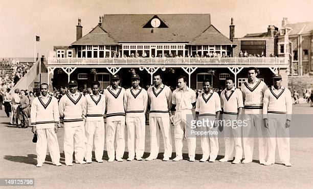 The West Indies cricket team prior to their match against Mr TN Pearce's XI at the Scarborough Festival 7th September 1957 Leftright Andrew Ganteaume...