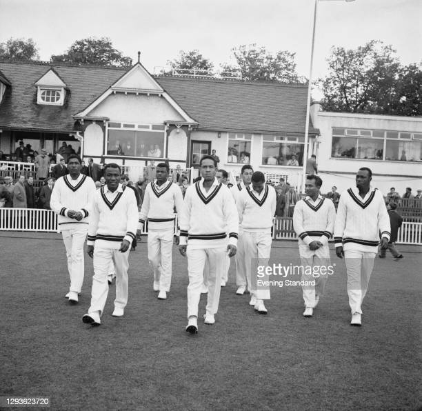 The West Indies cricket team prior to their tour match against Worcestershire at New Road in Worcester, 4th May 1966. From left to right, Rawle...