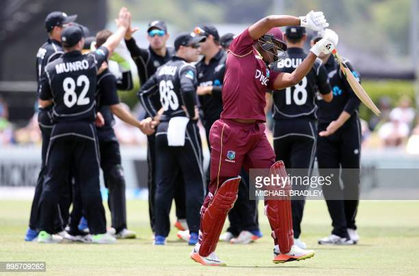 The West Indies Shimron Hetmyer is dismissed during the first ODI cricket match between New Zealand and the West Indies at Cobham Oval in Whangarei...