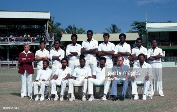 The West Indies Squad for the 3rd Test match against England at the Kensington Oval in Bridgetown Barbados 13th March 1981 Back row Dennis Waight...