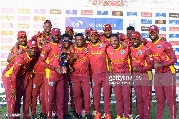 The West Indies team celebrates with the trophy after winning the 3rd and final ODI match between West Indies and Sri Lanka at Vivian Richards...