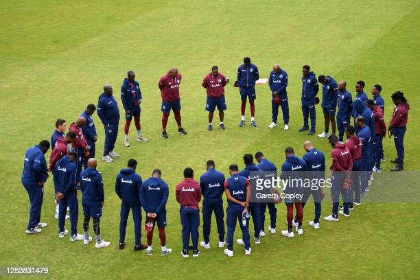 The West Indies team observe a minutes silence in memory of former West Indies batsman Sir Everton Weekes who passed away yesterday prior to the...