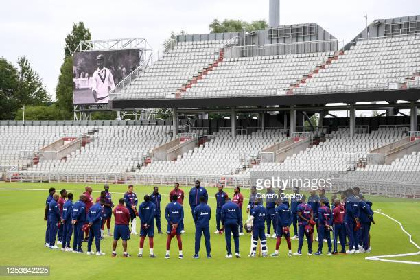 The West Indies team observe a minutes silence in memory of former West Indies batsman Sir Everton Weekes who passed away the day before prior to the...