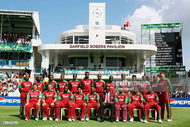 The West Indies team pose during the ICC Cricket World Cup Super Eights match between West Indies and England at the Kensington Oval on April 21 2007...