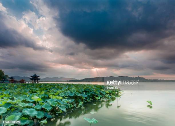 the west lake scenic area in hangzhou, china, the tyndall phenomenon in the clouds after the storm - light natural phenomenon stock pictures, royalty-free photos & images
