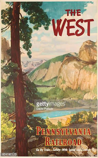 The West Pennsylvania Railroad Go By Train Safety With Speed and Comfort Travel Poster ca 1940s Illustration of Yosemite National Park and Half Dome