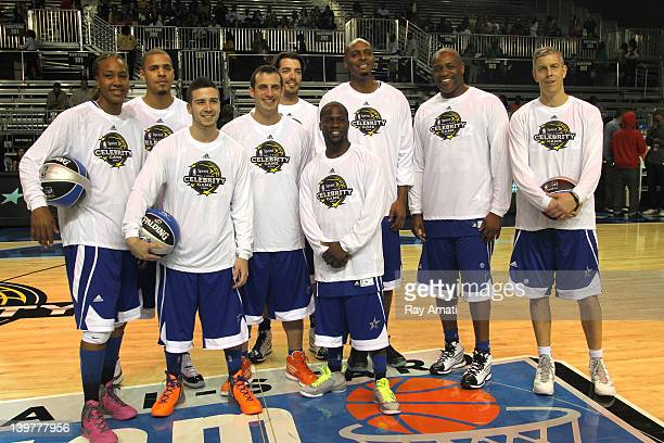The West team featuring NeYo Drew ScottJesse WilliamsCommon JB Smoove Javier Colon Tim Hardaway Mitch Richmond and Chris Mullin psoe for a photo...