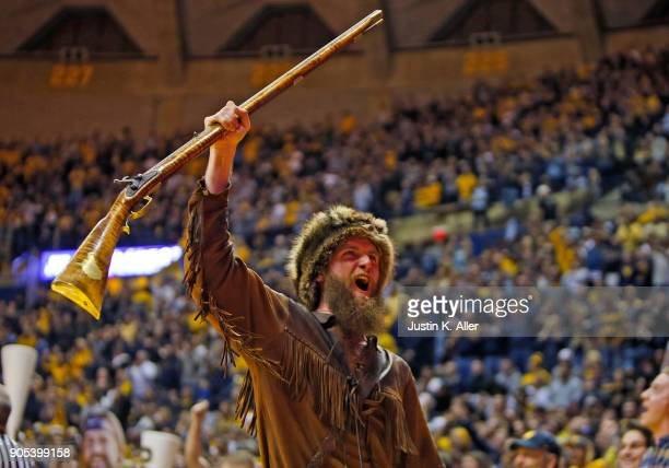The West Virginia Mountaineer cheers against the Kansas Jayhawks at the WVU Coliseum on January 15 2018 in Morgantown West Virginia