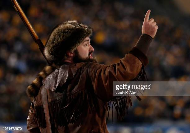 The West Virginia Mountaineer in action during the game between the Oklahoma Sooners and the West Virginia Mountaineers on November 23 2018 at...