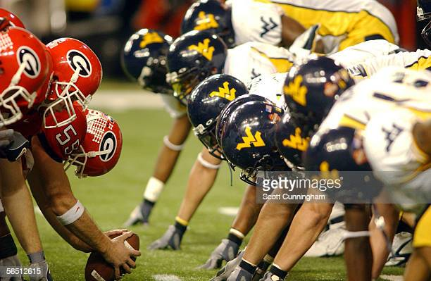The West Virginia Mountaineers line up against the Georgia Bulldogs in the Nokia Sugar Bowl on January 2 2006 at the Georgia Dome in Atlanta Georgia
