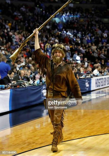 The West Virginia Mountaineers mascot during the NCAA Division I Men's Championship Sweet Sixteen round basketball game between the Villanova...
