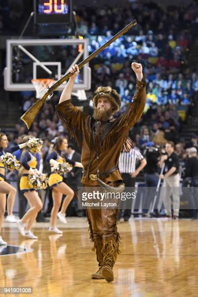 The West Virginia Mountaineers mascot on the floor during the 2018 NCAA Men's Basketball Tournament East Regional against the Villanova Wildcats at...