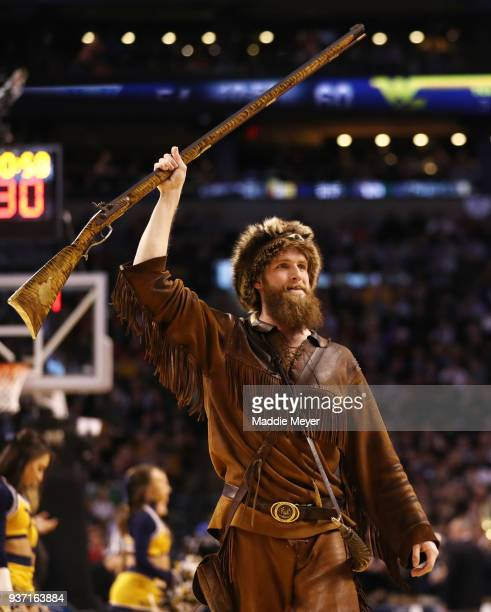 The West Virginia Mountaineers mascot performs during the second half in the 2018 NCAA Men's Basketball Tournament East Regional at TD Garden on...