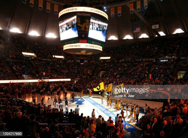 The West Virginia Mountaineers take the court against the Oklahoma Sooners at the WVU Coliseum on February 29 2020 in Morgantown West Virginia