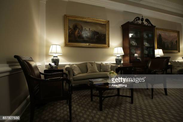 The West Wing lobby of the White House is seen after renovations August 22 2017 in Washington DC The White House has undergone a major renovation...