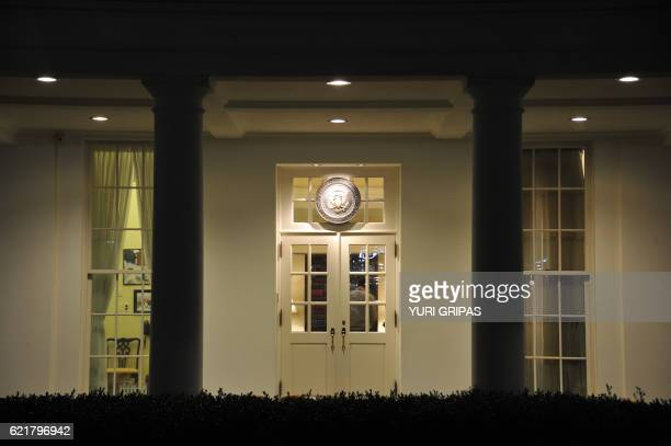 The West wing of the White House is seen during the US presidential election night on November 8 2016 in WashingtonDC Millions of Americans turned...
