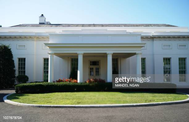 The West Wing of the White House is viewed in Washington DC on September 6 2018 A furious Donald Trump called September 5 2018 for the unmasking of...