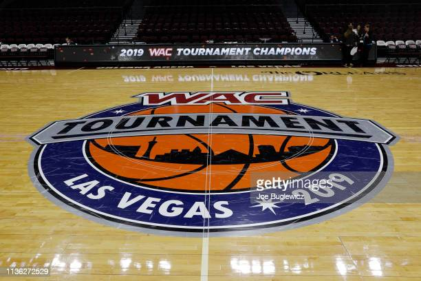 The Western Athletic Conference tournament logo is shown on the court before the championship game of the Western Athletic Conference basketball...