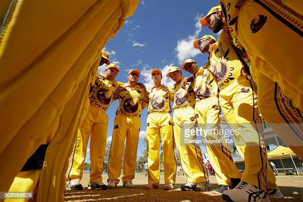 The Western Australian team huddle before their first match during the National Indigenous Cricket Championships on February 8 2016 in Alice Springs...