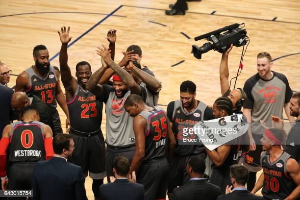 The Western Conference All Star team huddles up during the NBA AllStar Game as part of the 2017 NBA All Star Weekend on February 19 2017 at the...