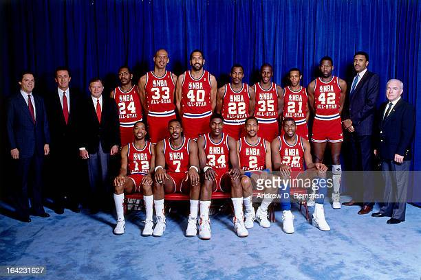 The Western Conference All Star team poses for a portrait during the 1988 NBA AllStar Game on February 7 1988 at the Chicago Stadium Chicago Illinois...